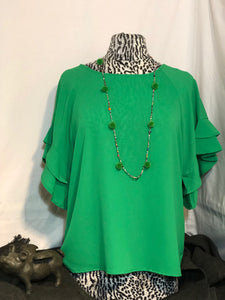 Green Layered Ruffle Top
