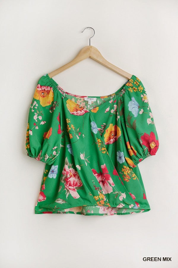 Green Floral Mix Blouse