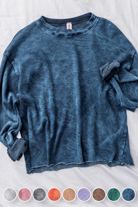 Washed Raw-Hem Cropped Sweatshirt