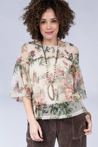 Ivy Jane Creamed Roses Smoked Yoke Top