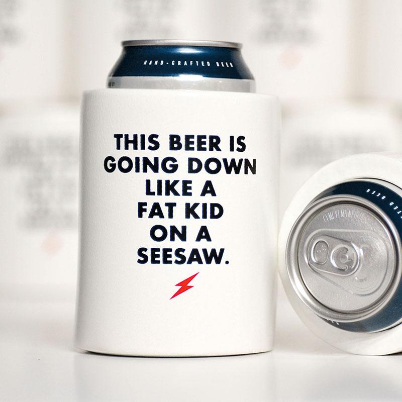 Fat Kid on seesaw Koozie