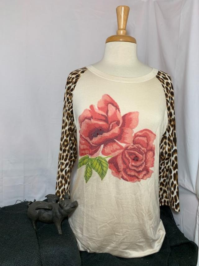 Bling A GoGo Embroidered Rose with Leopard Sleeves Tee