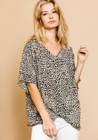 Umgee Sheer Animal Print Dolman Top