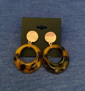 Dark Circle Leopard Earrings