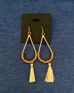 Cream Teardrop Hoop Earrings
