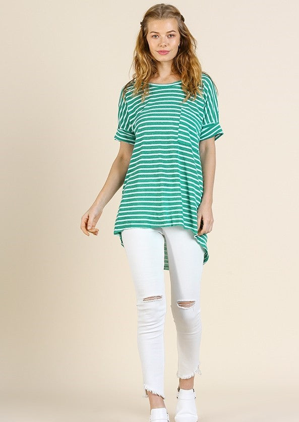 Green Striped Top with Chest Pocket