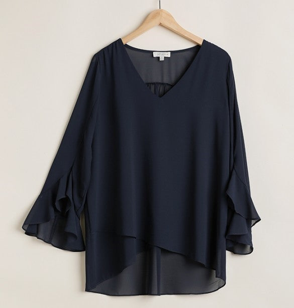 Navy V Neck Sheer Top