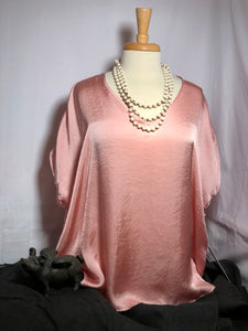 VNeck Pink Top Shirttail Hem