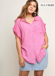Frayed V Neck Top Plus Size
