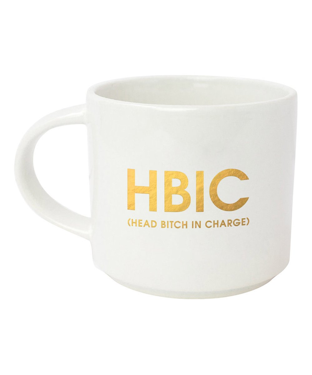 HBIC - White Mug with Gold Foil