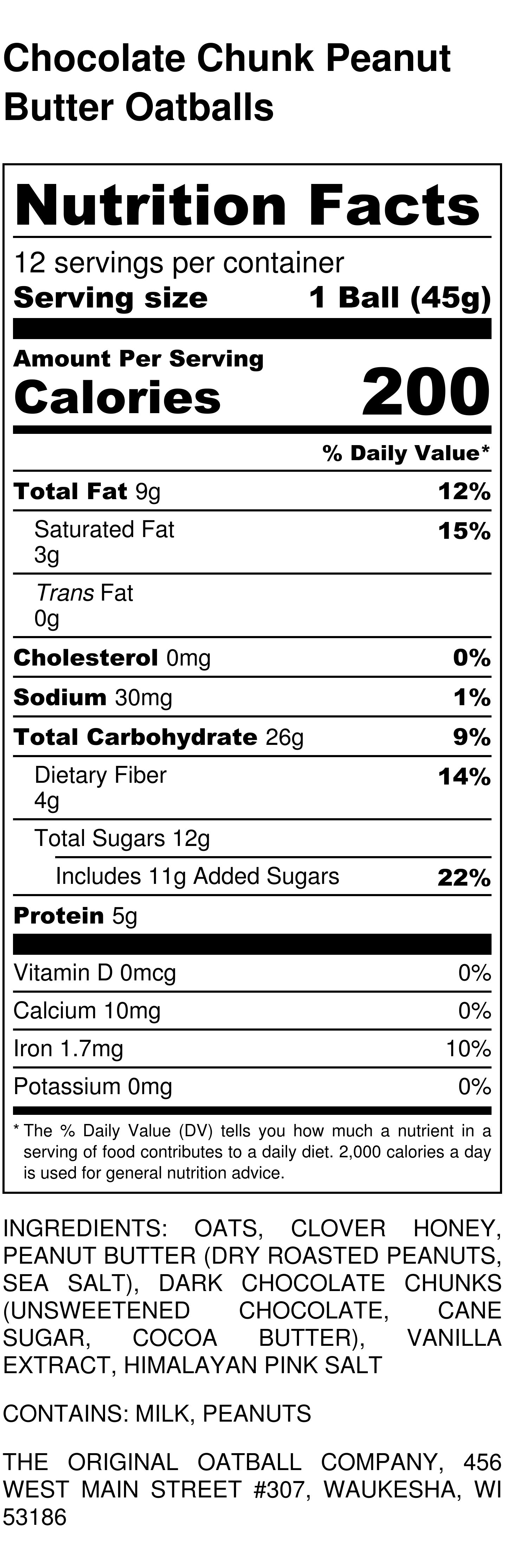 Chocolate Chunk Peanut Butter Oatballs Nutrition Label