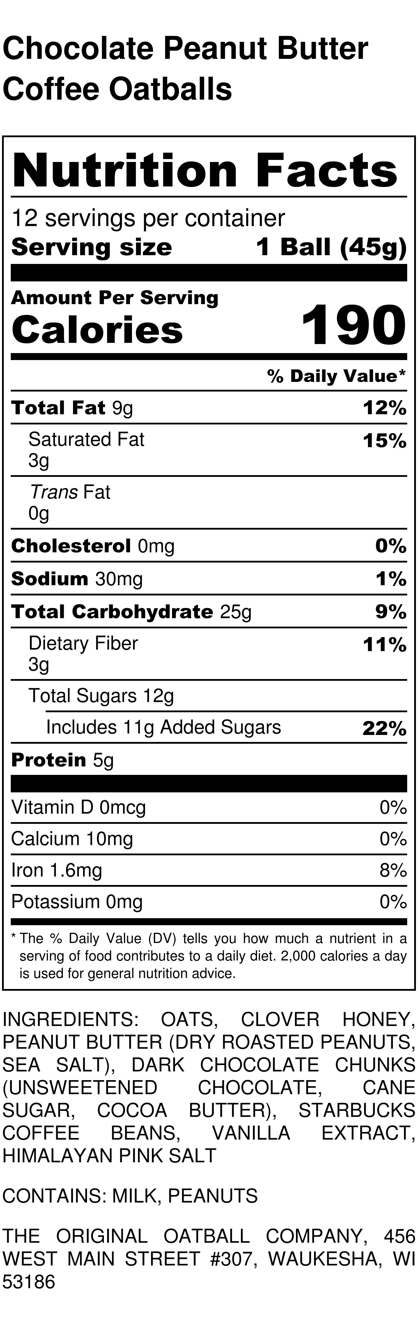 Chocolate Peanut Butter Coffee Oatballs Nutrition Label