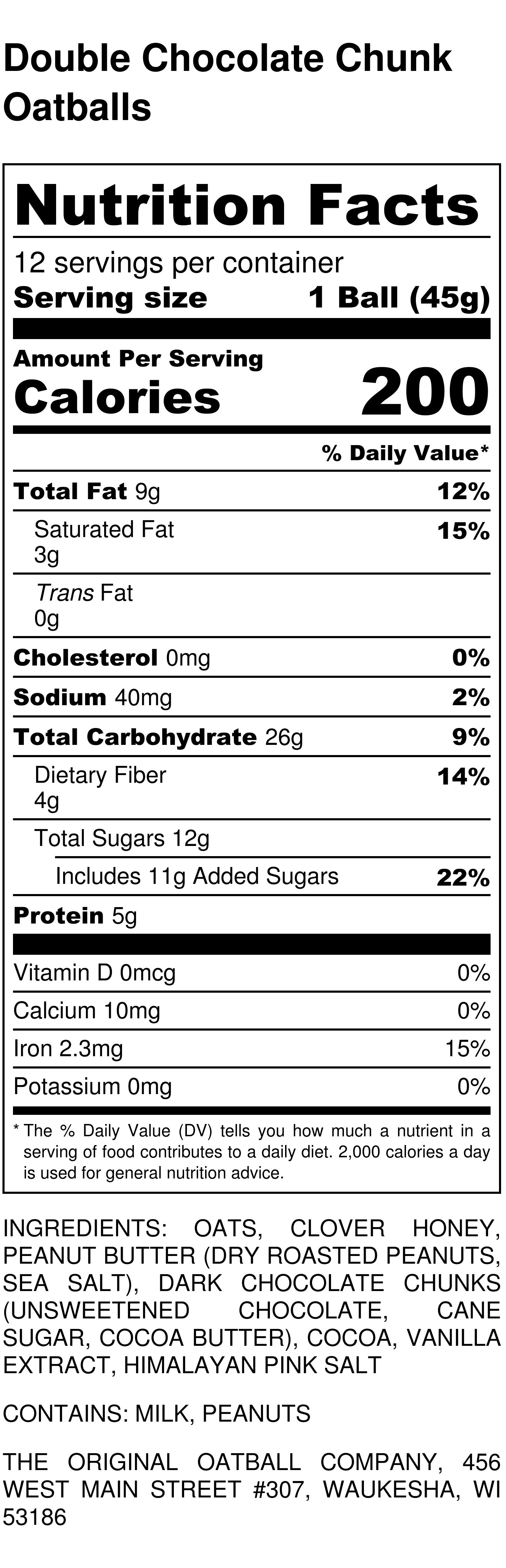 Double Chocolate Chunk Oatballs Nutrition Label