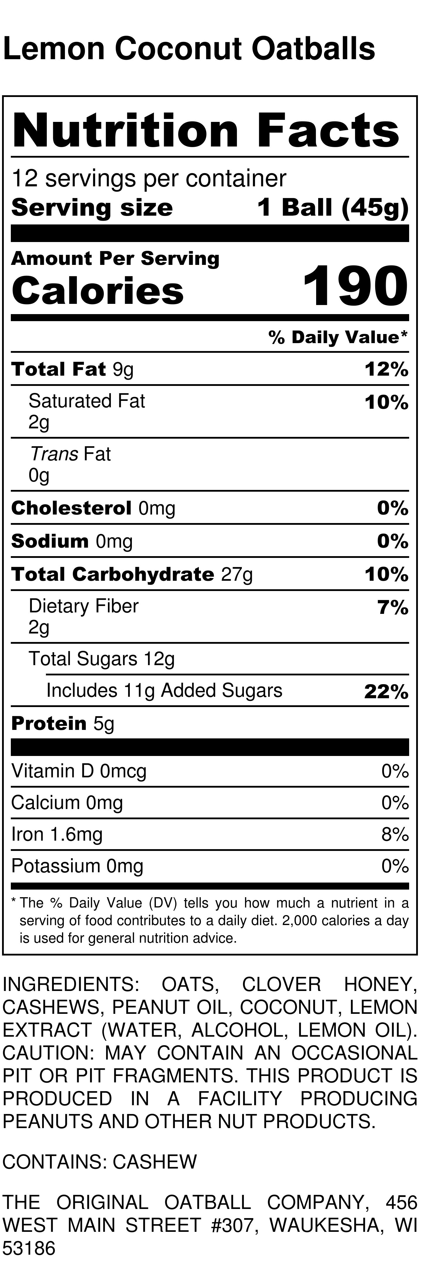 Lemon Coconut OatballsNutrition Label
