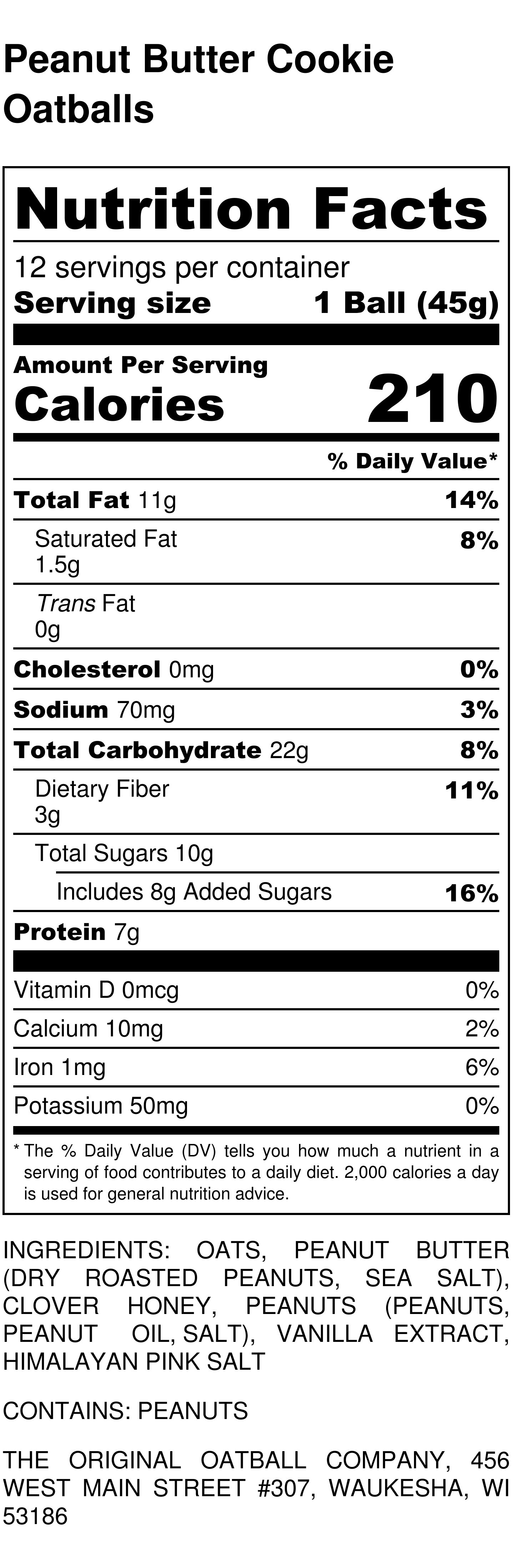 Peanut Butter Cookie Oatballs Nutrition Label