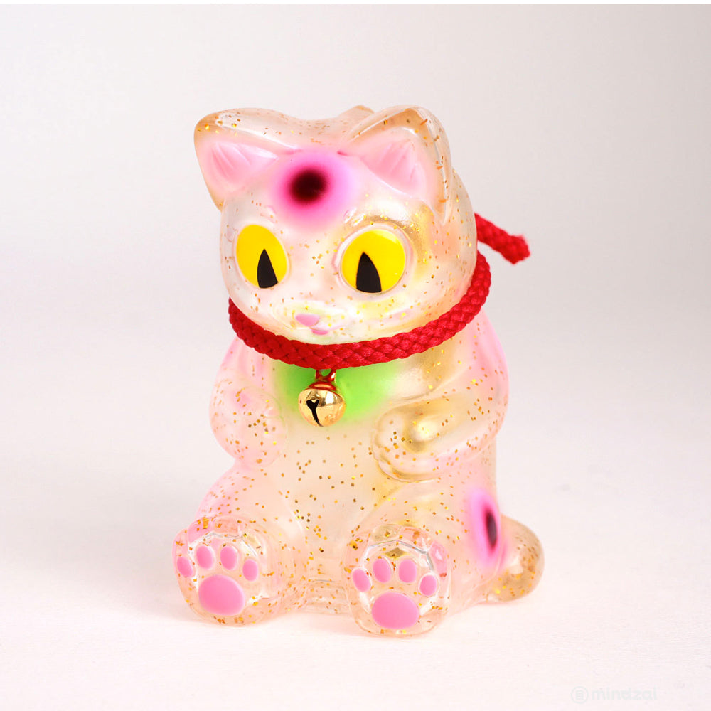 Negora Sitting Lucky Cat 3.5 Inch Clear Edition by Konatsuya
