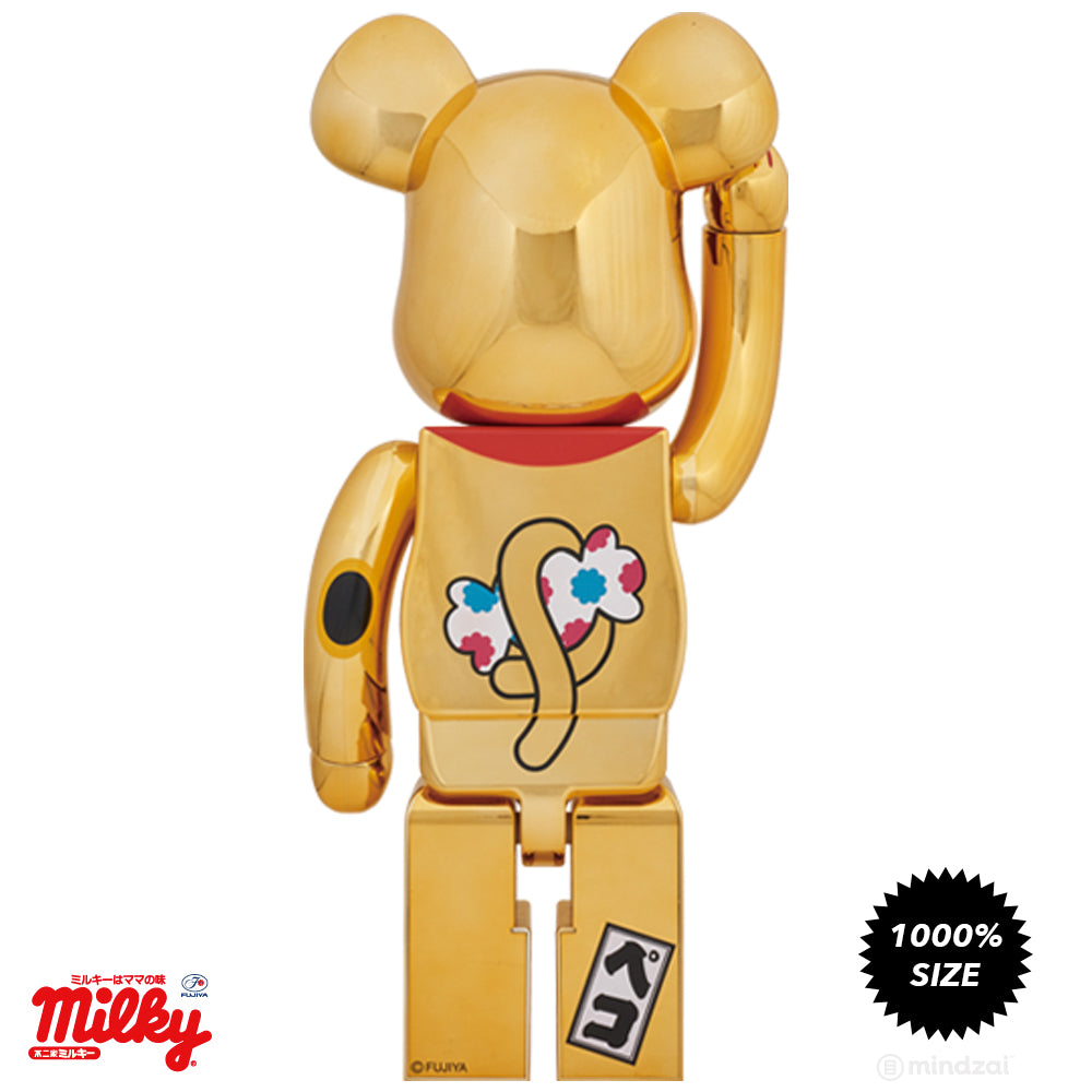 Peko Chan Lucky Cat Chrome Gold 1000% Bearbrick by Fujiya x Medicom Toy