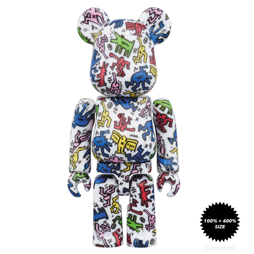Keith Haring 100% and 400% Bearbrick Set