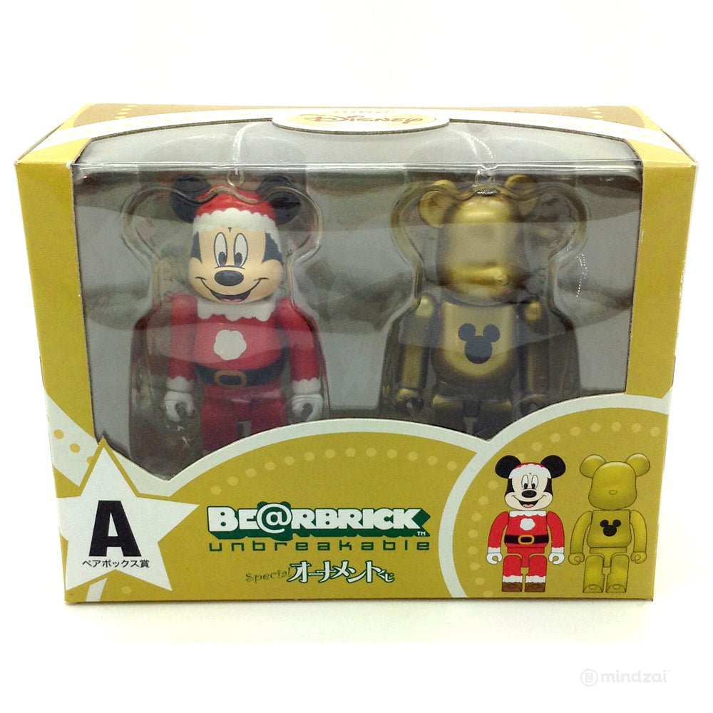 Disney Bearbrick Unbreakable - Happy Kuji A- Mickey Mouse Santa Suit and Gold Metallic Version (2 PK)