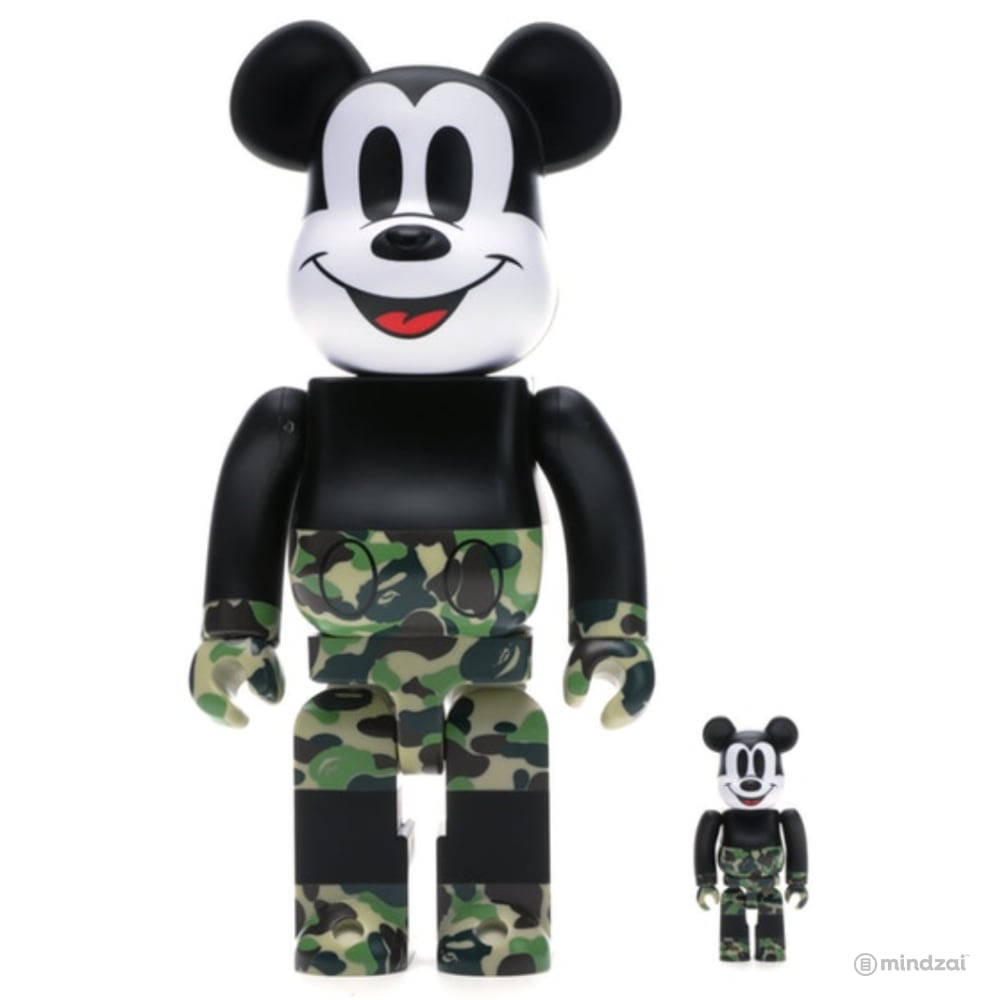BAPE Mickey Mouse 100% 400% Bearbrick Set - Green