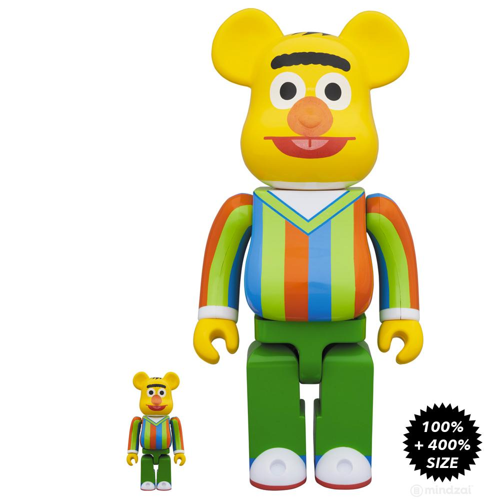 Sesame Street Bert 100% + 400% Bearbrick Set by Medicom Toy