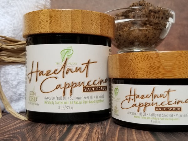 coffee and hazelnut cbd body scrub