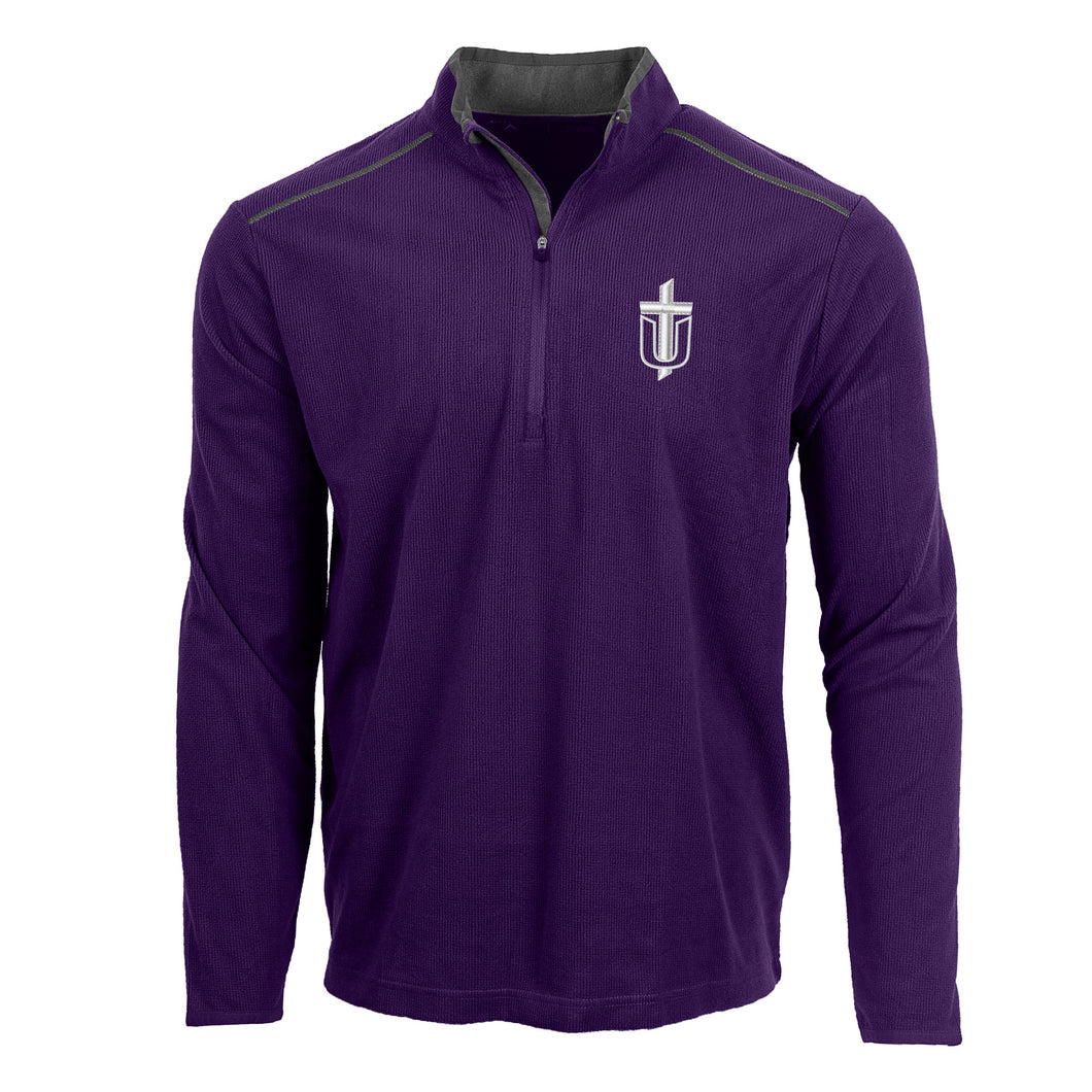 Antigua Men's Glacier 1/4 Zip, Purple/Carbon