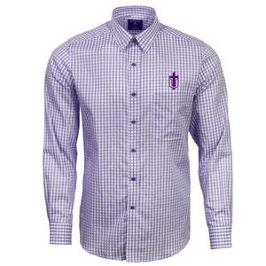 Antigua Men's Structure Button Down Long Sleeve, Purple/White