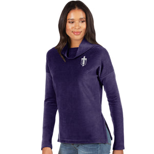 Antigua Women's Glory Corduroy Cowlneck Pullover, Purple