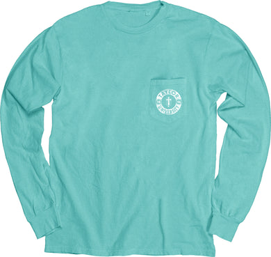 Blue 84 Dyed Ringspun Long Sleeve W/Pocket, Caribbean