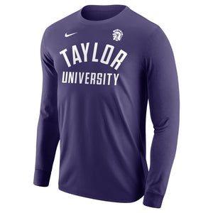 Nike Men's Core Cotton Long Sleeve Tee. Purple