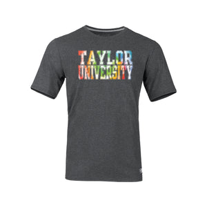 Russell Tie Dye Letter Tee, Black Heather