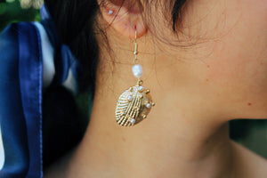 Lucia Gold Shell Dangle Earrings