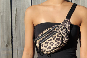 Leopard Print Double Zip Belt Bag