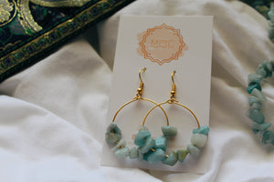 Jessamine Gold Amazonite Hoops