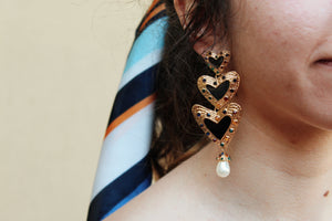 Triple Heart Gold Drop Earrings