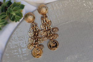 Vera Gold Coin Drop Earrings