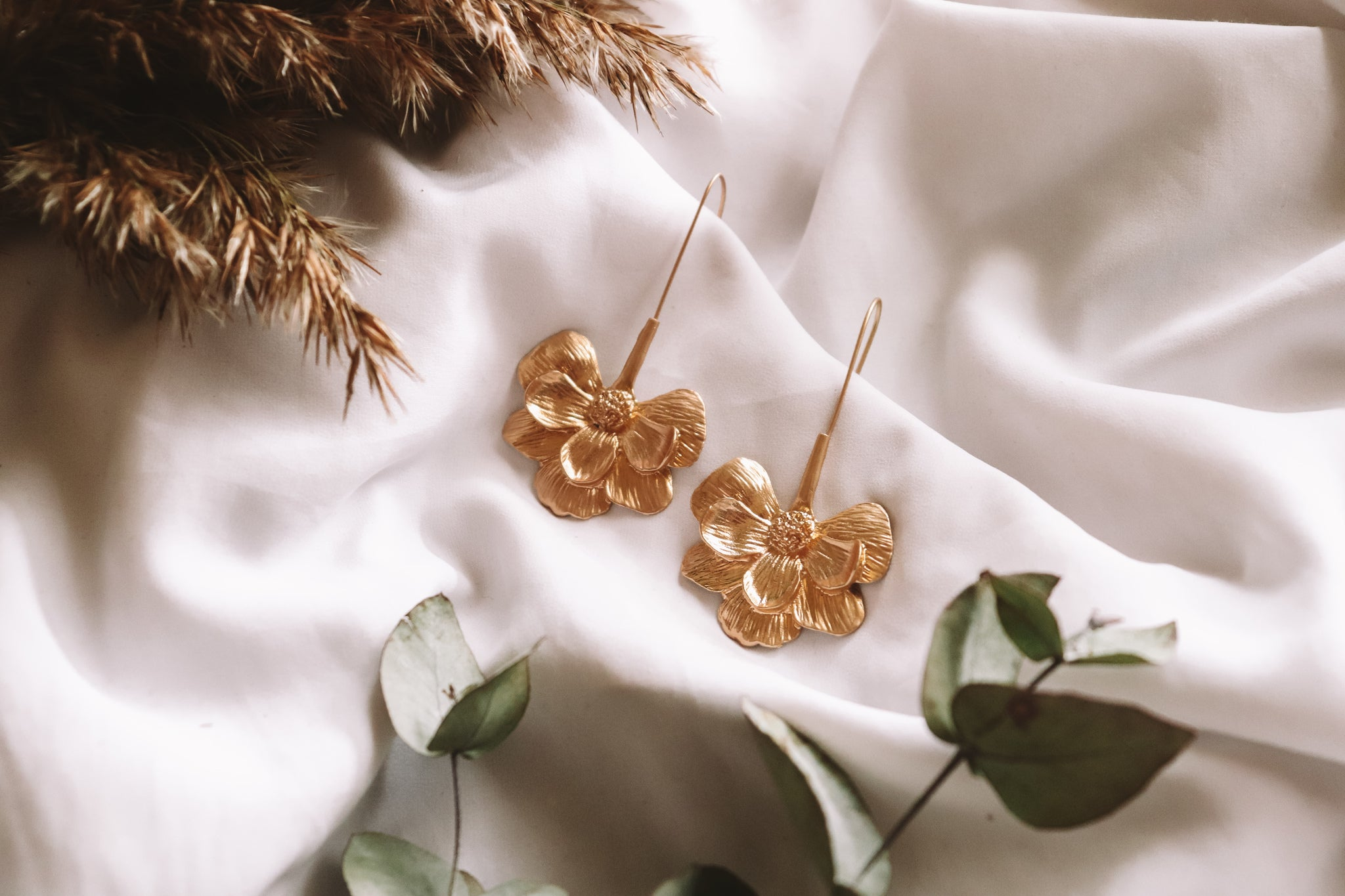 Loren Gold Flower Dangles
