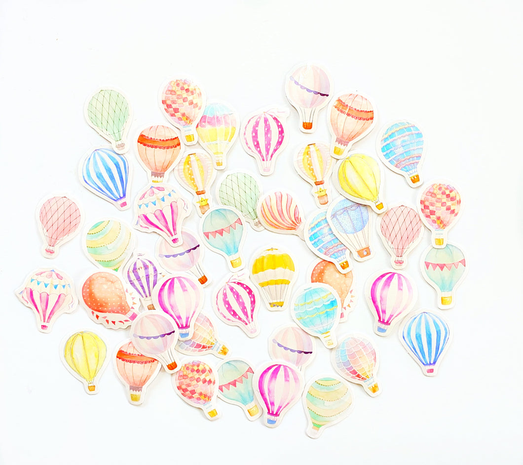 Watercolor Hot Air Balloon Ephemera Stickers
