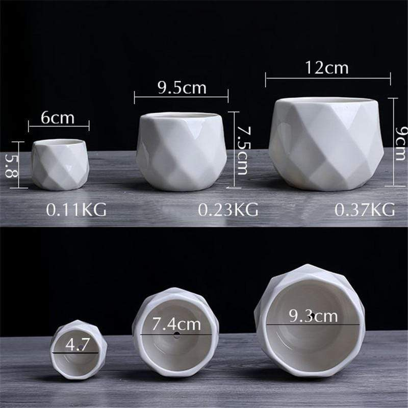 1pc Ceramic Geometric Flowerpot