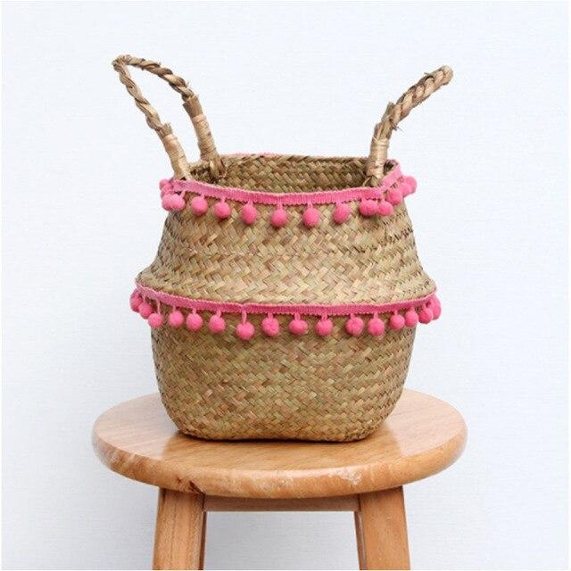 Ball Tassel Seagrass Basket
