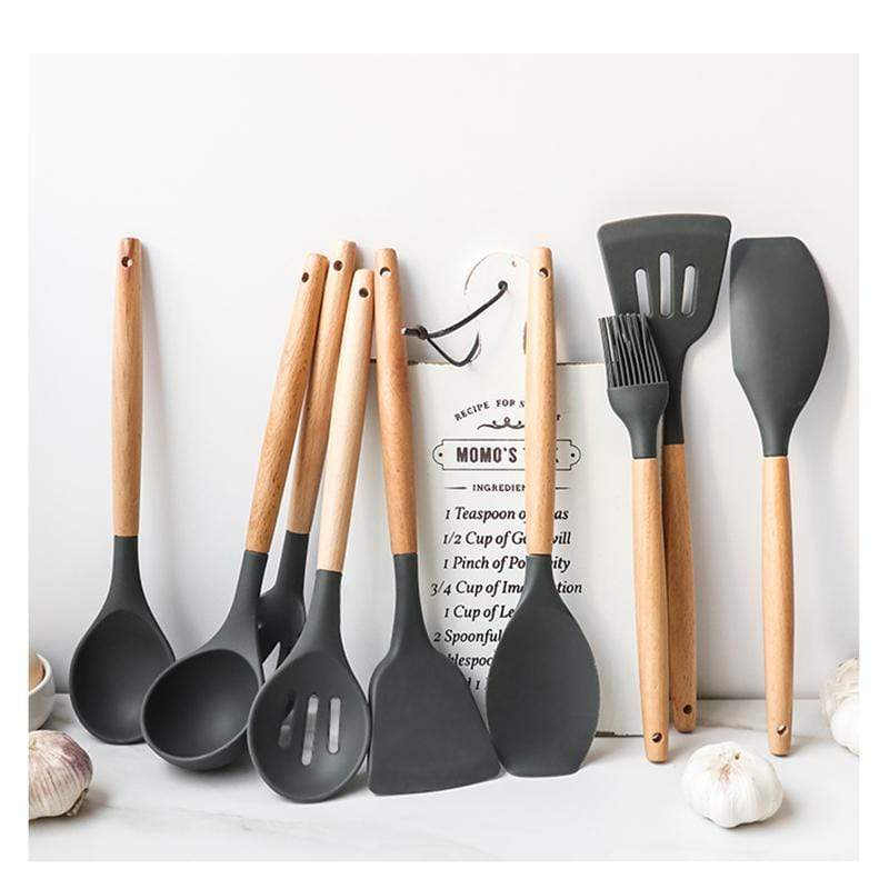 Eco-Friendly Silicone and Wood Handle Cooking Utensils