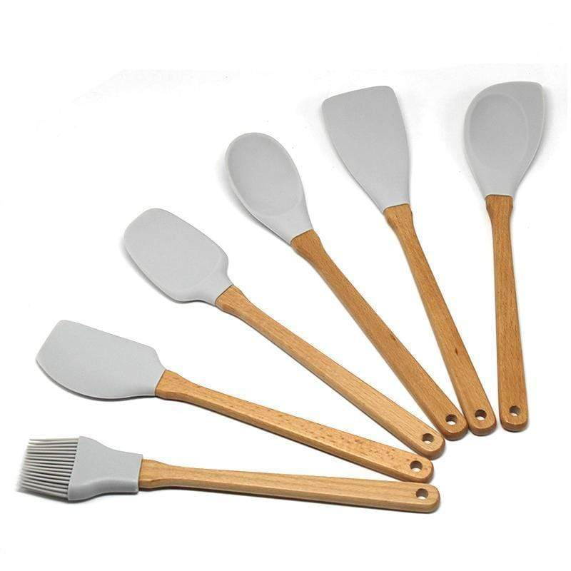 Light Grey Silicone and Wooden Utensils