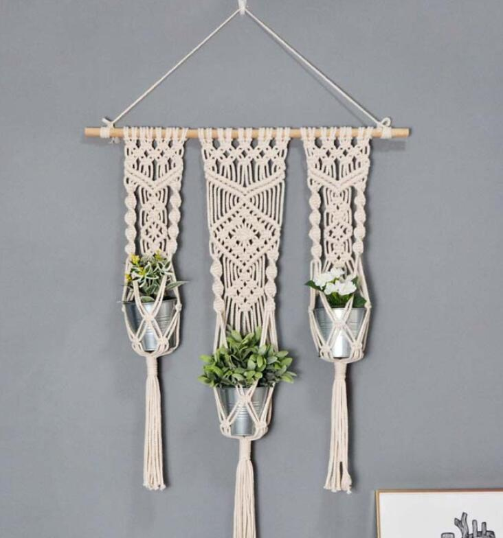 Triple Macrame Hanging Baskets