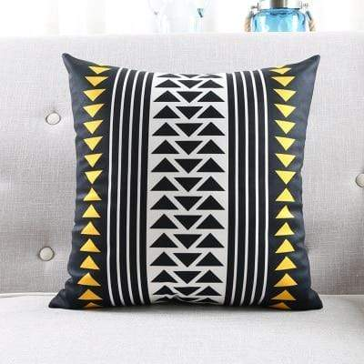 Yellow & Black Geometric Cushion Cover