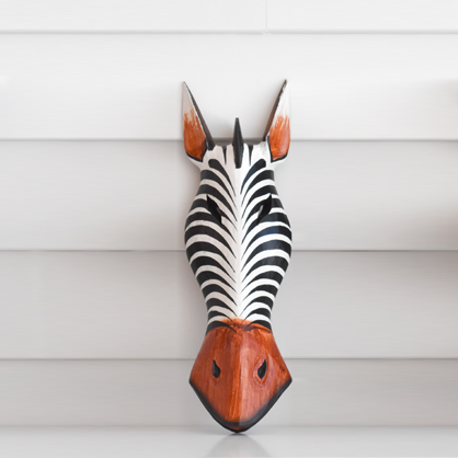 African Animal Mask - White Zebra