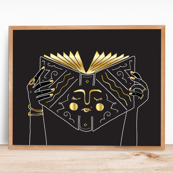 Book Face Gold Foil Print