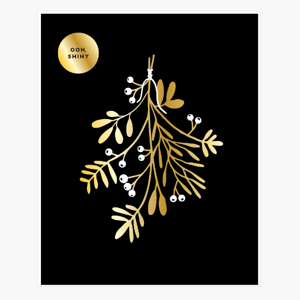 Sprigs & Berries Gold Foil Print