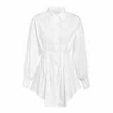 Batwing sleeve white mini dress Women office lady pleated blouse shirt dress Autumn high waist slim elegant short dress