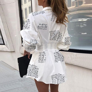 Letter print sexy mini short shirt dress Women white long sleeve party club dress Winter autumn elegant bodycon dress